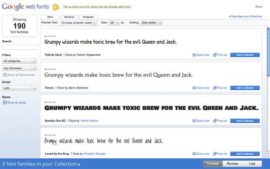SOTD: Google Web Fonts v2