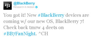 RIM tweets planned BlackBerry 7 unveiling