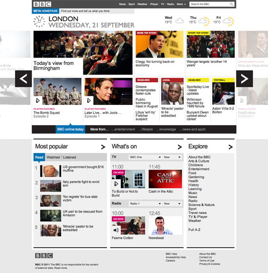 BBC – Homepage – Beta Version