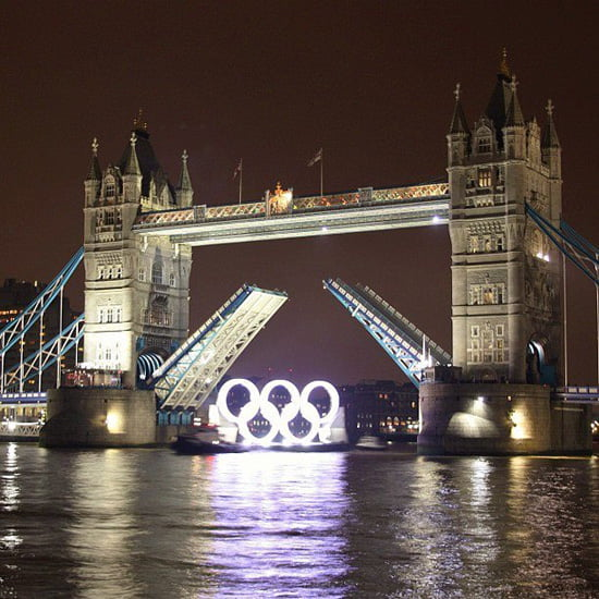 Olympic Rings under Tower Bridge