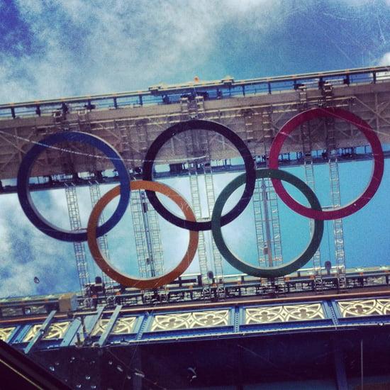 Olympic Rings under London' Tower Bridge