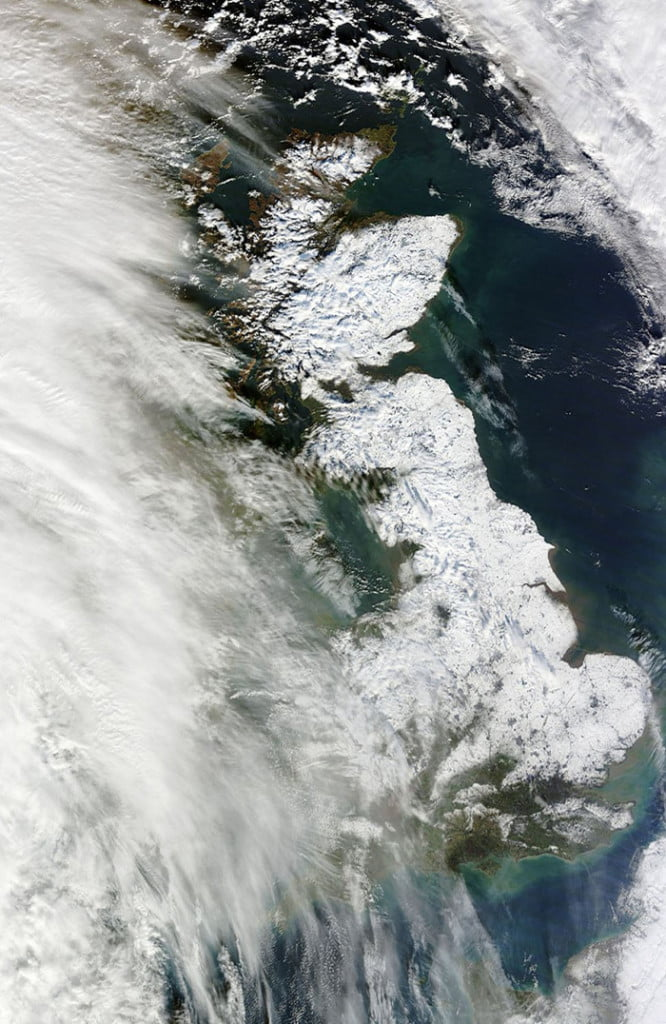 Britain in the snow seen from above