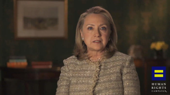 Hillary Clinton comes out in support of equal marriage