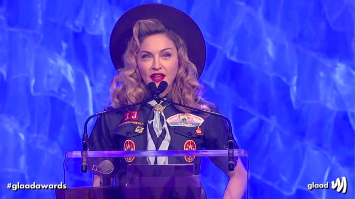 Madonna wears Boy Scout outfit