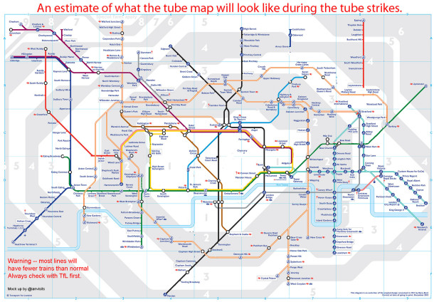 the tube map will look like on strike days
