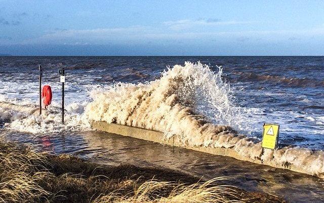 High tide on Prestatyn sea front