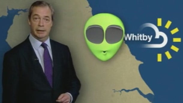 Nigel Farage presents the UKIP weather forecast