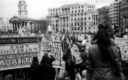 English: An anti-war rally in Trafalgar Square...