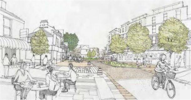 Prospective view along Hythe Street